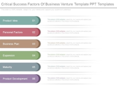 Critical Success Factors Of Business Venture Template Ppt Templates
