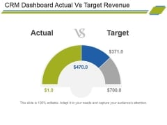 Crm Dashboard Actual Vs Target Revenue Ppt PowerPoint Presentation Outline Example File