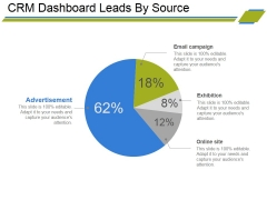 Crm Dashboard Leads By Source Ppt PowerPoint Presentation Outline Deck