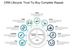 Crm Lifecycle Trust Try Buy Complete Repeat Ppt Powerpoint Presentation Infographic Template Master Slide