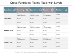Cross Functional Teams Table With Levels Ppt PowerPoint Presentation Infographics Layouts