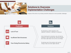 Cross Sell In Banking Industry Solutions To Overcome Implementation Challenges Ppt Styles Graphics Example PDF