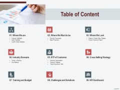 Cross Sell In Banking Industry Table Of Content Ppt Ideas Show PDF