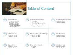 Cross Selling Initiatives For Online And Offline Store Table Of Content Professional PDF