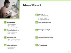 Cross Selling Of Retail Banking Products Table Of Content Ppt Outline Themes PDF