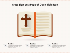 Cross Sign On A Page Of Open Bible Icon Ppt PowerPoint Presentation File Microsoft PDF