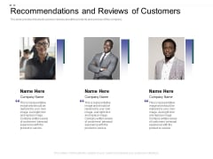 Crowd Sourced Equity Funding Pitch Deck Recommendations And Reviews Of Customers Themes PDF