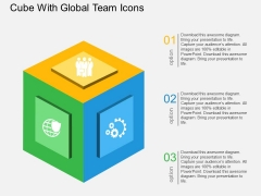 Cube With Global Team Icons Powerpoint Templates
