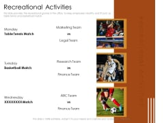 Cultivating The Wellbeing Culture In Organization Recreational Activities Slides PDF