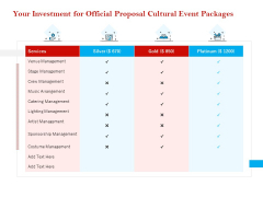 Cultural Event Your Investment For Official Proposal Cultural Event Packages Graphics PDF