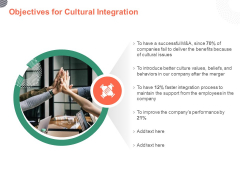 Cultural Integration In Company Objectives For Cultural Integration Ppt PowerPoint Presentation Icon Themes PDF