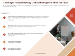 Cultural Intelligence Importance Workplace Productivity Challenges In Implementing Cultural Intelligence Within The Team Guidelines PDF