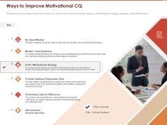 Cultural Intelligence Importance Workplace Productivity Ways To Improve Motivational CQ Inspiration PDF