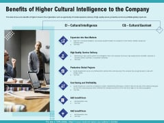 Cultural Intelligence Productive Team Enhanced Interaction Benefits Of Higher Cultural Intelligence To The Company Summary PDF