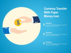 Currency Transfer With Paper Money Icon Ppt PowerPoint Presentation File Visual Aids PDF
