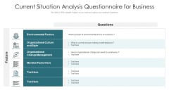 Current Situation Analysis Questionnaire For Business Ppt Icon Portfolio PDF