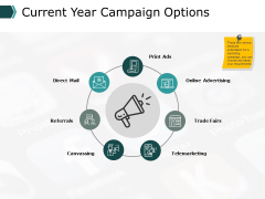 Current Year Campaign Options Business Ppt PowerPoint Presentation Pictures Slideshow