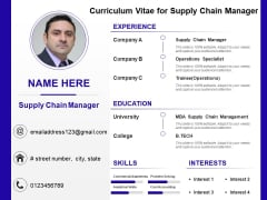 Curriculum Vitae For Supply Chain Manager Ppt PowerPoint Presentation Professional Pictures PDF