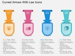 Curved Arrows With Law Icons Powerpoint Template