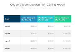 Custom System Development Costing Report Ppt PowerPoint Presentation Professional Guide PDF