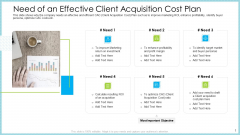 Customer Acquiring Price For Retaining New Clients Need Of An Effective Client Acquisition Cost Plan Guidelines PDF