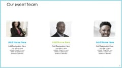 Customer Acquiring Price For Retaining New Clients Our Meet Team Brochure PDF