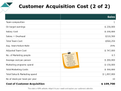 Customer Acquisition Cost Marketing Ppt PowerPoint Presentation Styles Show