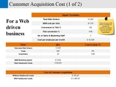 customer acquisition cost template 1 ppt powerpoint presentation layouts gridlines