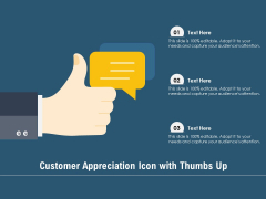 Customer Appreciation Icon With Thumbs Up Ppt PowerPoint Presentation File Elements PDF
