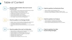 Customer Attainment Price To Gain New Clients Table Of Content Professional PDF