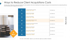 Customer Attainment Price To Gain New Clients Ways To Reduce Client Acquisitions Costs Clipart PDF