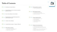 Customer Behavioral Data And Analytics Table Of Contents Brochure PDF