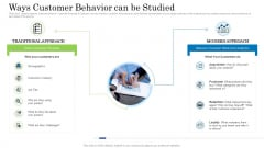 Customer Behavioral Data And Analytics Ways Customer Behavior Can Be Studied Elements PDF