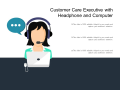 Customer Care Executive With Headphone And Computer Ppt PowerPoint Presentation Icon Outline PDF