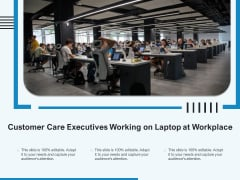 Customer Care Executives Working On Laptop At Workplace Ppt PowerPoint Presentation Show Good PDF