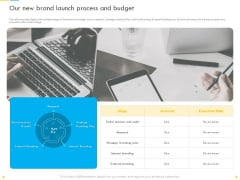 Customer Churn Prediction And Prevention Our New Brand Launch Process And Budget Template PDF