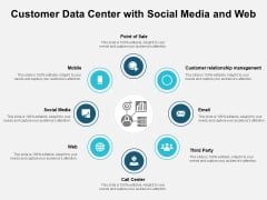 Customer Data Center With Social Media And Web Ppt PowerPoint Presentation Summary Design Ideas PDF