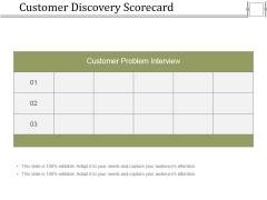 Customer Discovery Scorecard Ppt PowerPoint Presentation Model Ideas