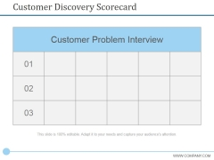 Customer Discovery Scorecard Ppt PowerPoint Presentation Styles Shapes