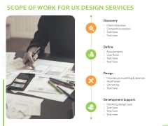 Customer Experience Interface Scope Of Work For UX Design Services Ppt PowerPoint Presentation Gallery Inspiration PDF