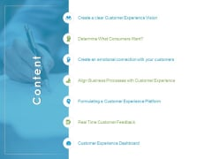 Customer Experience Process Content Ppt Styles Infographics PDF