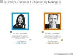 Customer Feedback Or Quotes By Managers Ppt PowerPoint Presentation Visual Aids