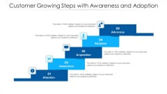 Customer Growing Steps With Awareness And Adoption Ppt PowerPoint Presentation File Slide Download PDF
