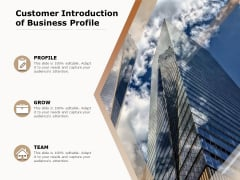 Customer Introduction Of Business Profile Ppt PowerPoint Presentation Icon Inspiration PDF