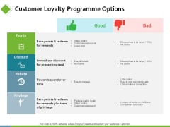 Customer Loyalty Programme Options Ppt PowerPoint Presentation Pictures Topics