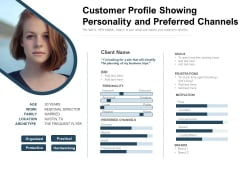 Customer Profile Showing Personality And Preferred Channels Ppt PowerPoint Presentation Gallery Background Images PDF