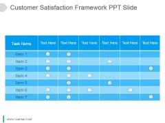 Customer Satisfaction Framework Ppt Slide