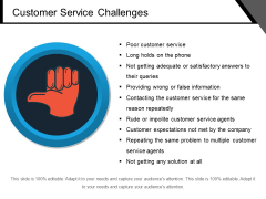 Customer Service Challenges Ppt PowerPoint Presentation Gallery Model