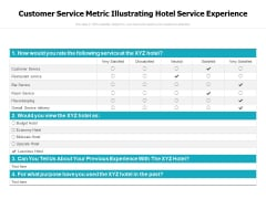 Customer Service Metric Illustrating Hotel Service Experience Ppt PowerPoint Presentation Portfolio Rules PDF