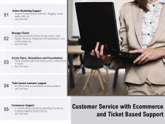 Customer Service With Ecommerce And Ticket Based Support Ppt PowerPoint Presentation File Backgrounds